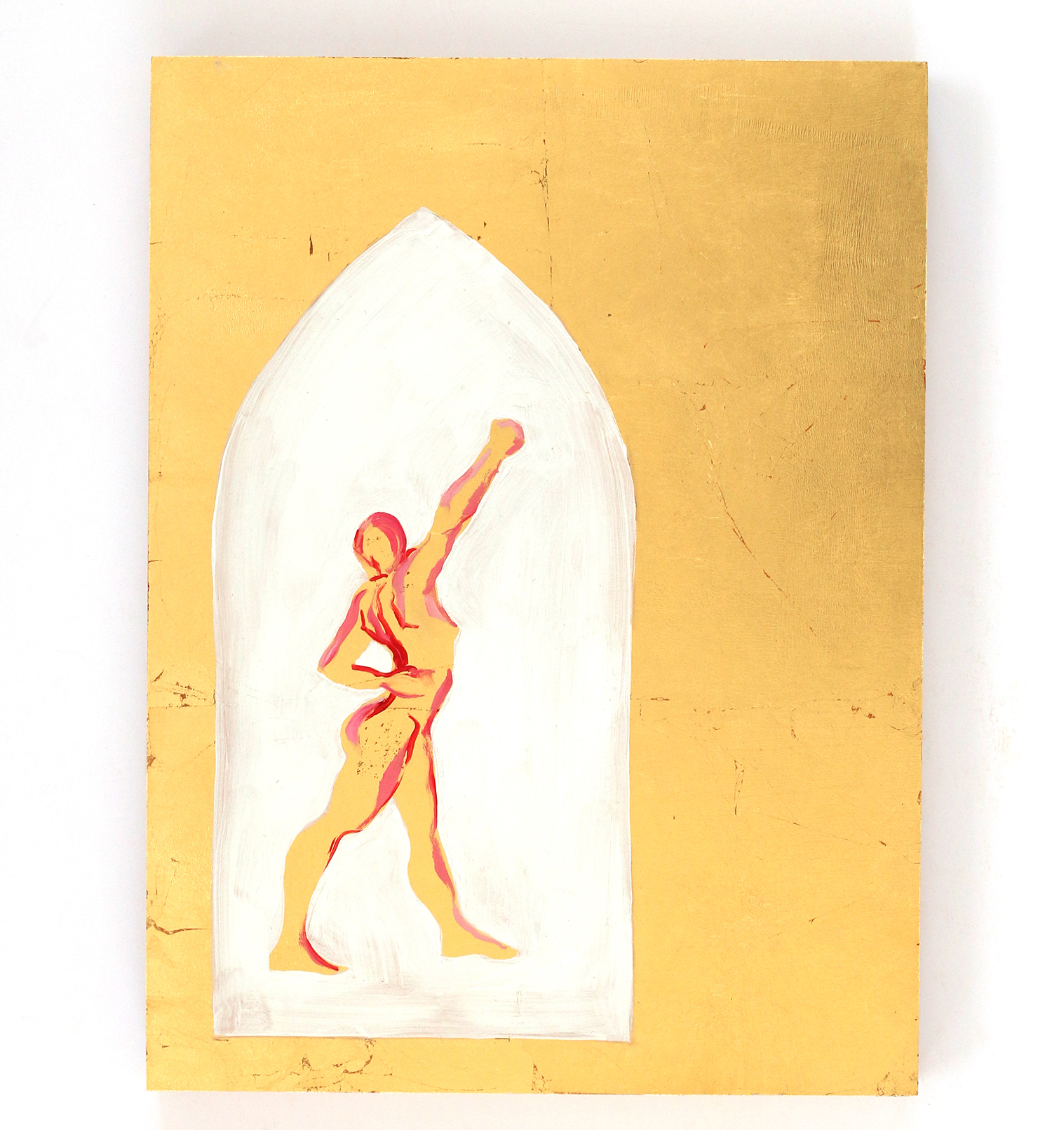 female figure white arch gold background painting by Michelle Arnold Paine