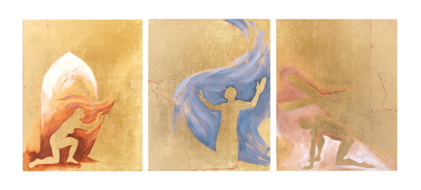 """Triptych of Gold Silhouette Paintings """"Christ Sightings"""""""