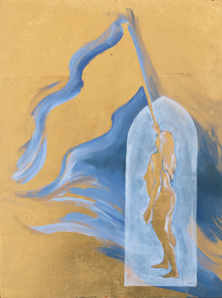 female figure with flag gold silhouette painting by Michelle Arnold Paine