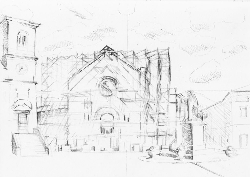 Basilica Nursia Scaffolding Drawing
