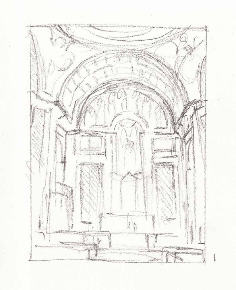 St. Matthew's Cathedral DC Pencil Drawing 1