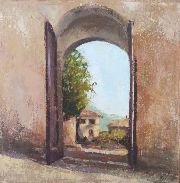 oil painting of medieval assisi gate