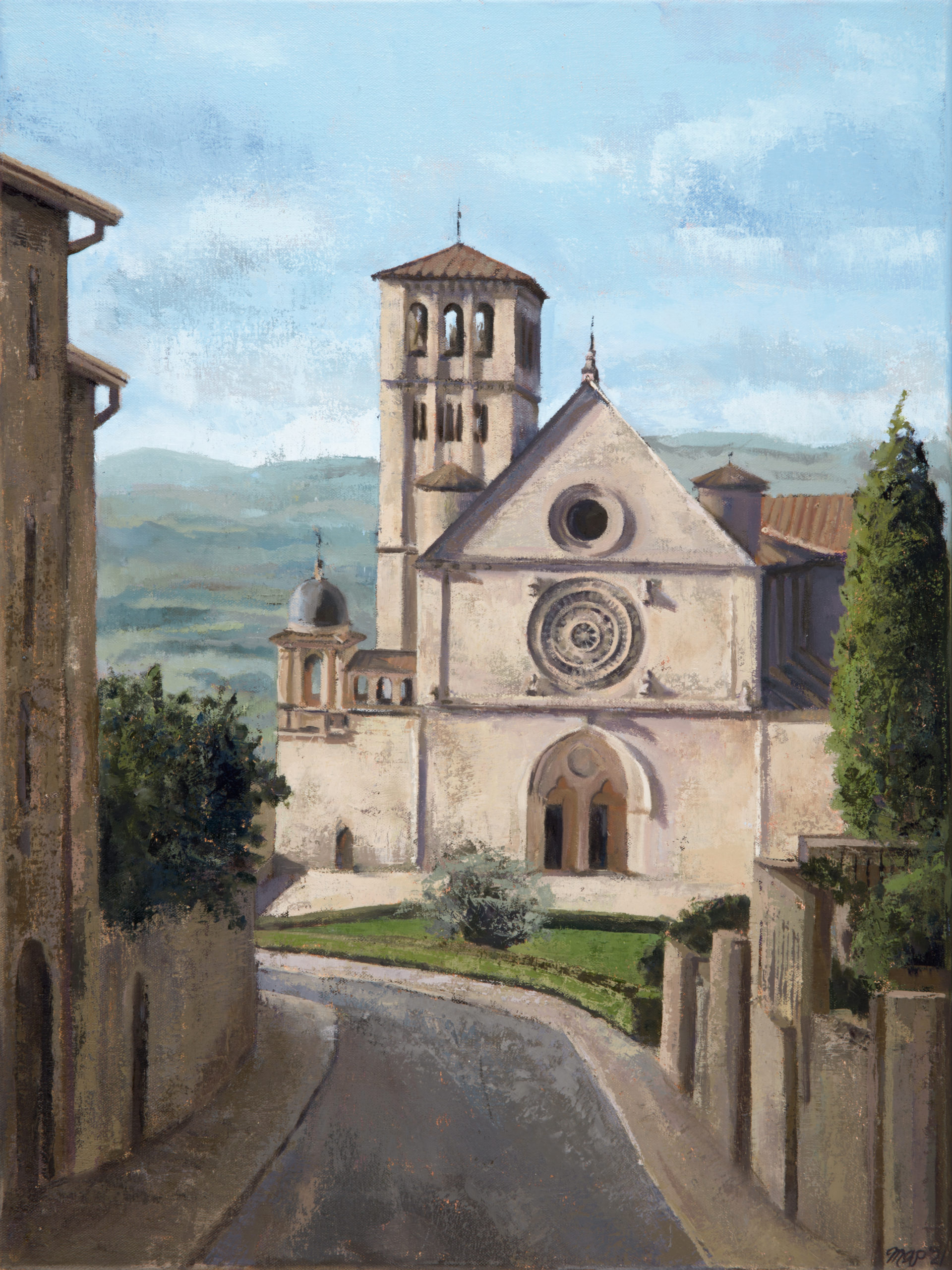 oil painting of basilica of saint francis of assisi from uphill