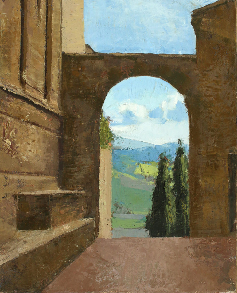 Oil painting of archway in Pienza, Tuscany, Italy by Michelle Arnold Paine