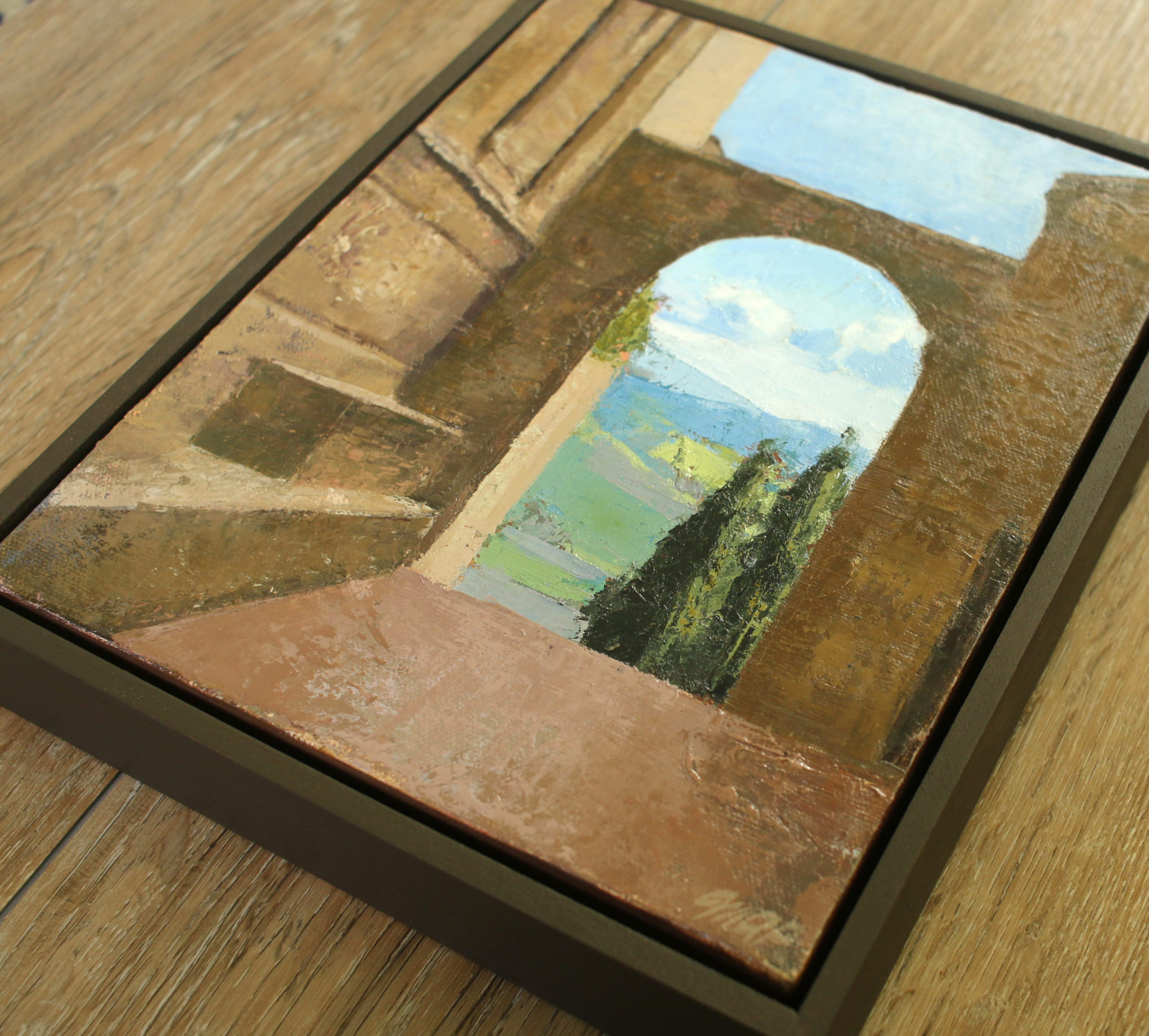 framed oil painting of pienza italy by michelle Arnold Paine