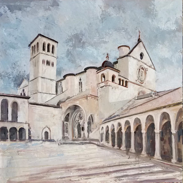 Oil Painting of Basilica of St. Francis of Assisi lower piazza
