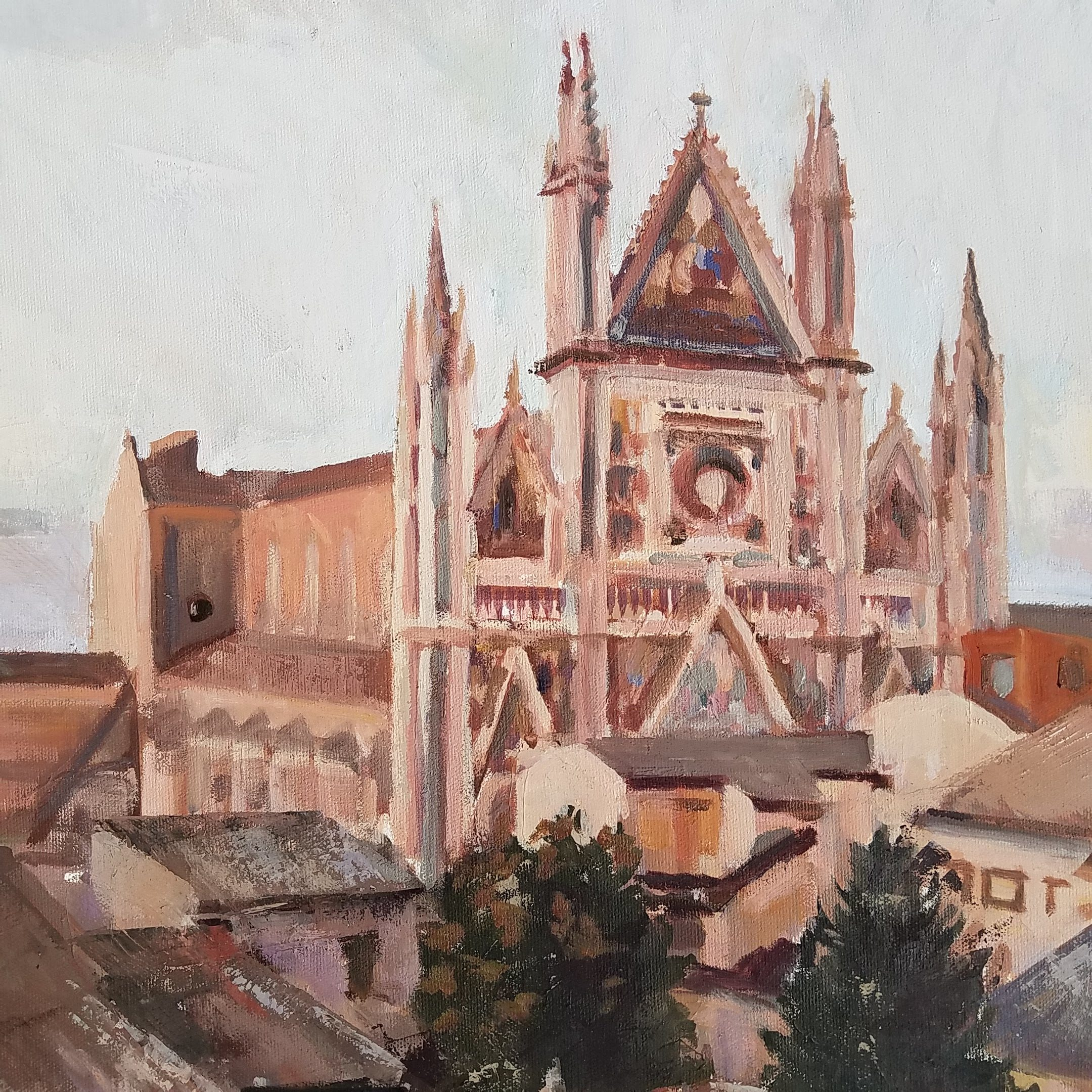 oil painting of Orvieto Duomo, Orvieto, Italy
